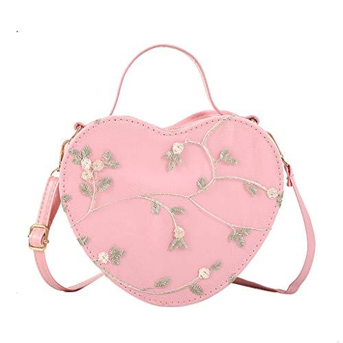 Deloito Mode Damen Herzförmig Umhängetaschen Reise Wild Kuriertasche Mädchen Freizeit Schultertasche Mode Bankett Handtasche (Rosa) -