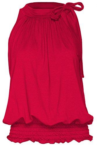 Glamour Empire. Donna Elastico Top Senza Maniche con Allacciata al Collo. 706 Rosso