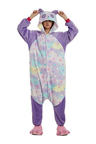 VineCrown Damen Schlafanzug Tier Pyjamas Overall Cosplay Strampelanzüge Nachthemden Kleid Karikatur Neuheit Jumpsuit Kostüme Erwachsene Kinder Weihnachten Karneval (XL for 177CM-187CM, Star Panda)