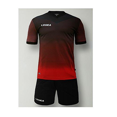 Legea kit bilbao calcio calcetto completino completo maglietta e pantaloncino sport torneo (m, nero-rosso)