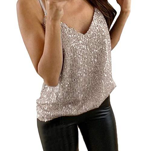 Yvelands Damen Tank Tops Weste Glitzer Riemchen Ärmelloses T-Shirt Sexy Sparkle Cami Swing Vest Clubwear(Gold1,XXXXXL) - Swing-erweiterung