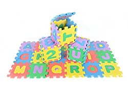 Foam Alphabet Letters and Numbers Interlocking Puzzle Play Mat - Non-Toxic 4.5 x 4.5 Inch Square Til