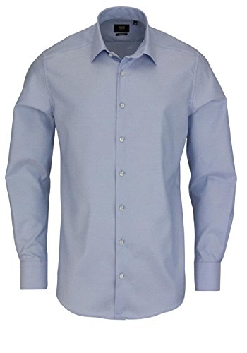 ETERNA long sleeve Shirt MODERN FIT Herringbone uni azzurro chiaro