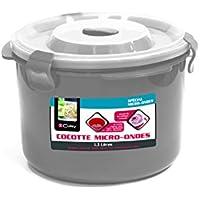 Cuisy KC2229Cocotte a vapore, può essere usata in microonde, materiale: plastica, dimensioni: 21x 20,5x 14cm, colore: Rosso/Grigio/Verde
