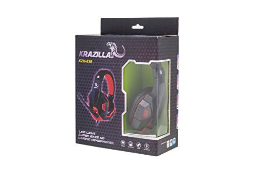 Krazilla KZH-830 Gaming-Headset, Super Bass, HD, mit rotem LED-Licht