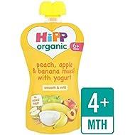 Hipp Durazno Orgánico, Manzana Y Plátano Muesli Con 100 G De Yogur - Paquete de 6