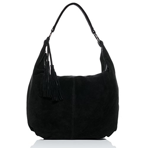 Schwarze Wildleder-fransen (BACCINI® Beuteltasche SELINA - Damen Schultertasche groß Ledertasche - Hobo Bag mit Fransen Damentasche echt Wildleder schwarz)