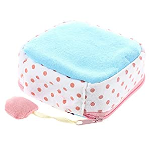 Xigeapg 2 Pcs Girl's Cute Cartoon Sanitary Napkin Towel Pads Small Bag Purse Holder Organizer(Pink & Light Blue)