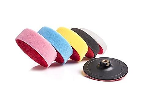 Polishing Foam Pads Kit - 6 inch (150mm) with Hook and Loop Backing Pad, Car Polishing Set, Sponge Applicator Pads