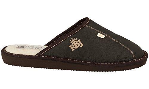 Rbj Men's Slippers Adulte Chaussures D'hiver En Peau De Mouton 100% Elegant Luxurious Soft Brown