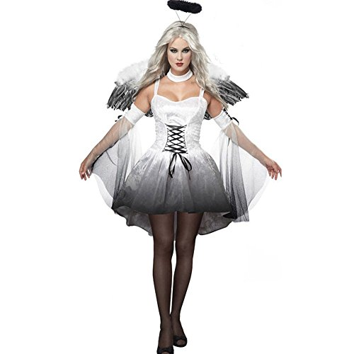 (Cosfun Damen schwarzer Engel Hexe Cosplay Kostüm Kleid Karneval Halloween Fasching Gothic)