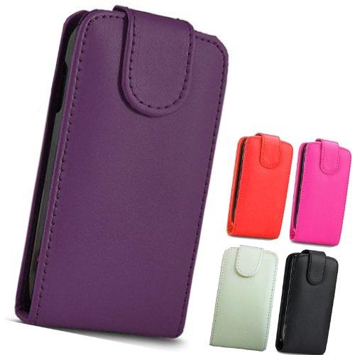 fi9 Lederhülle für Samsung Mobiltelefone (PU-Leder, inklusive Bildschirmschutz), - violett, Galaxy Mini GT-S5570