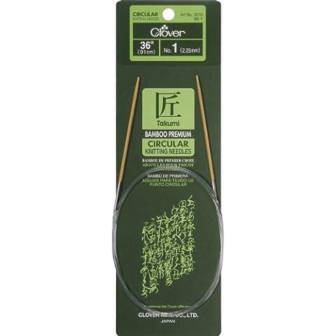 100% poliestere Clover Takumi-Ferro circolare da maglia, in bambù, 36 cm, misura 1/2,25 mm