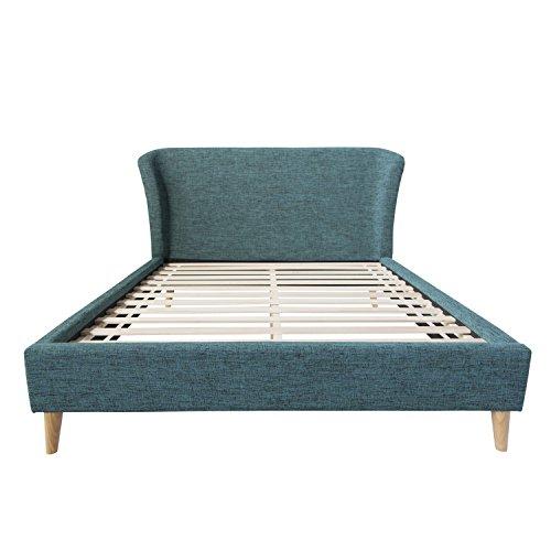 Homestyle4u 1831, Polsterbett 140 x 200 cm, Bett Mit Lattenrost, Rückenlehne, Türkis Blau
