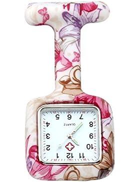 JSDDE Uhren,Krankenschwester Nurses FOB-Uhr Silikon Tunika Brosche Taschenuhren,Quadrat,Weiß-Rot Blumen