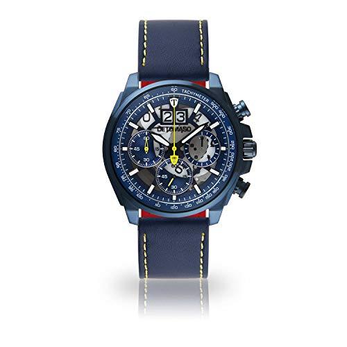 DETOMASO LIVELLO DT2060-E-904 - Reloj de Pulsera para Hombre, cronógrafo, analógico, Cuarzo, Correa de Cuero Azul, Esfera Azul