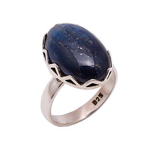 Anello da donna in argento sterling 925, con pietra naturale di cianite blu, cr616