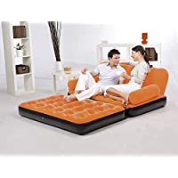 HOME BUY Inflatable 5 in 1, 3 Seater Valvet Queen Size Sofa Cum Bed (Multicolour)