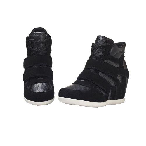 Scarpe Da Donna Rismart Formalmente Nascoste Scarpe Da Sneaker Moda In Pelle Con Zeppa E Zeppa Nere