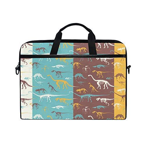 Ahomy Laptop-Tasche, für 14-14,5 Zoll Laptops, süße Cartoon-Dinosaurier, Fossilien, Skeletten, multifunktional, Stoff, wasserdicht, mit Schultergurt