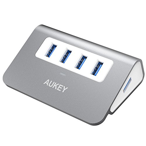 AUKEY USB Hub 4 Port Super Speed 5Gbps Aluminum mit 60cm USB 3.0 Kabel und LED-Anzeige USB 3.0 Hub für Apple MacBook, Macbook Air, Macbook Pro, iMac und weiteren Geräten ( Space Grau ) (Usb-port-hub Apple)