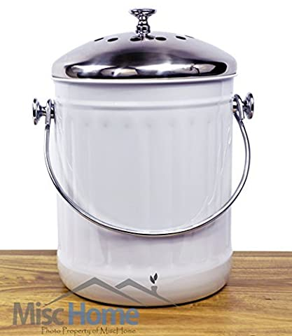 Misc Home Indoor Kitchen Non Stick Stainless Steel Compost Bin, 1.2 Gallon Container With Double Charcoal