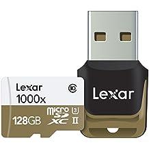 Lexar Professional - Tarjeta de memoria 1000x microSDXC de 128 GB (con lector de tarjeta USB 3.0)