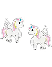 SL-Silver Boucles d'oreilles pour enfants en argent sterling925, motif licorne colorée dans boîte cadeau
