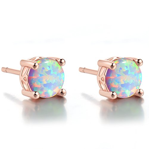 Rose gold stud earrings-Round Created Opal Stud Earrings Gift for Mom (6mm)