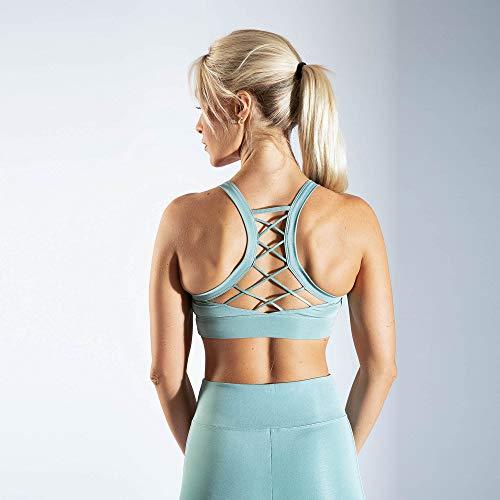 SMILODOX Sport Bra Cross | Fitness-BH ohne Bügel | Starker Halt im Training | Bustier für Pilates Yoga Gym Fitness | Soft Büstenhalter, Farbe:Grün, Größe:L - 5