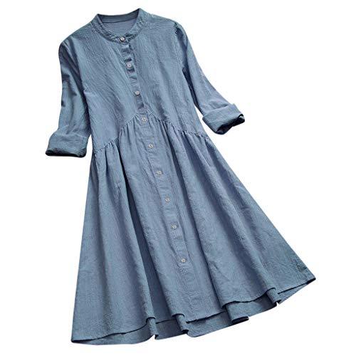 nen Kleid Tunika Damen Retro Literarische Stil Einfarbig Plissee Langarm Bluse Shirt Kleider ()