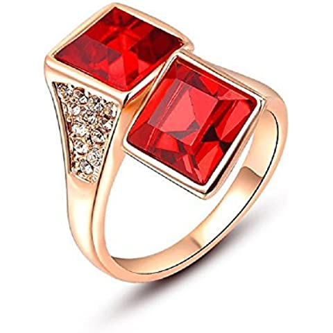 bmall Anello placcato in oro rosa 18K con diamanti, colore: rosso