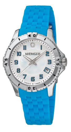 Wenger Squadron Women's Quartz Watch with Mother of Pearl Dial Analogue Display and Turquoise Silicone Strap 010121102