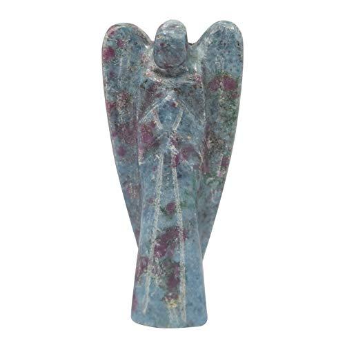 Craftstribe rubino cianite pietra scolpita angelo reiki spirituale della pietra preziosa custode blu del regalo