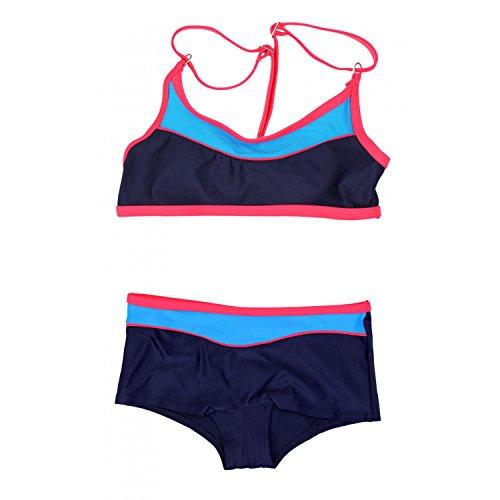 Aquarti Mädchen Sport Bikini - Badehose & Racerback Oberteil, Farbe: Dunkelblau/Rot, Größe: 122