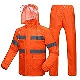 AINUO Hygiene-Arbeitskraft-Regenmantel-Regen-Hosen-Reflektierende Kleidung Wasserdichtes einzelnes Schicht-starker Straßenbau-Reinigungs-spezieller Regenmantel (Color : Fluorescent red, Größe : M)