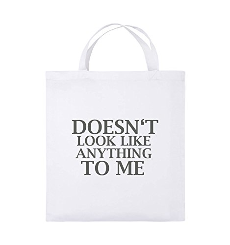 Comedy Bags - DOESN'T LOOK LIKE ANYTHING TO ME - Jutebeutel - kurze Henkel - 38x42cm - Farbe: Schwarz / Pink Weiss / Grau
