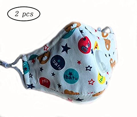 CHRISLZ 2 Pcs PM2.5 Children Pure Cotton Mask Reusable Anti-fog Anti Dust with Filter Respirator Kids Mouth Mask (BEAR)