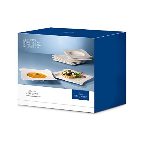 Villeroy & Boch NewWave Dinnerset / quadratische Suppenteller und Speiseteller in geschwungener Form aus edlem Porzellan / 1 x Set (8-teilig) - 6