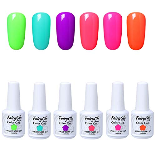 Uv-soak (UV Nagellack UV Gel Nagellack Set Nail Polish Set Soak Off UV LED Gel Shellac Nägelgel Set 6 Farben 15ml von Fairyglo - G15602)