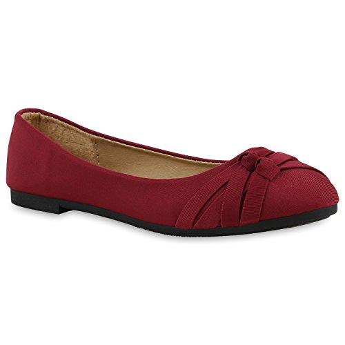 Klassische Damen Ballerinas | Lederoptik Flats | Schuhe Übergrößen | Flache Slipper | Spitze Prints Strass Dunkelrot