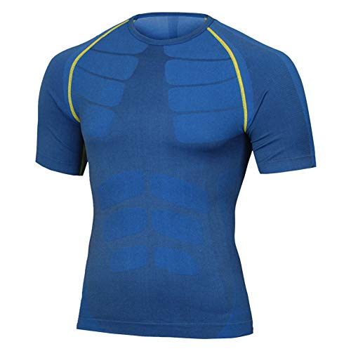 Fitsund Kompressionshirt Herren Sport Fitness Shirt (Blau, XL)