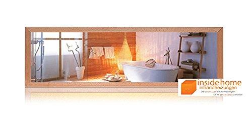 Infrarotheizung Spiegel mit Holz Rahmen in Buche - Spiegelheizung mit Rahmen, 320 Watt - 120 x 35 x 3 cm