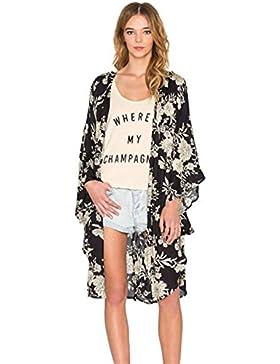 Vovotrade Las Mujeres de Impreso Floral de la gasa Mantón Kimono Tops Cardigan