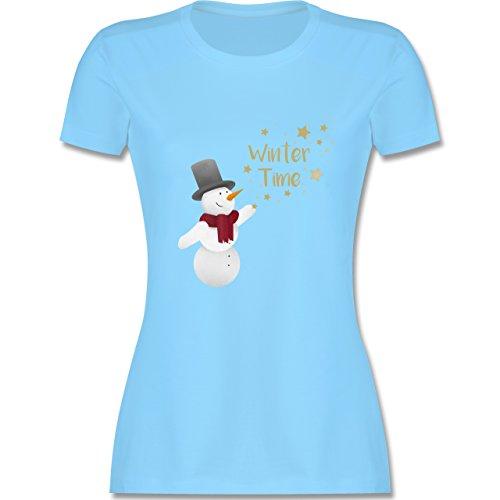 Weihnachten & Silvester - Schneemann Winterzeit - tailliertes Premium T-Shirt mit Rundhalsausschnitt für Damen Hellblau