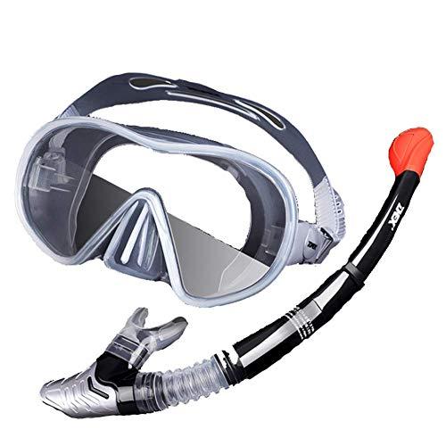 Jidesheying Masque de plongée Masque de plongée Sec avec Tuba - Vision panoramique HD - Anti-buée et Anti-Fuite - Tube de Respiration Professionnel pour Adulte, Transparent,