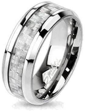 Paula & Fritz® Ring Titan silber Carbon Fiber Inlay verfügbare Ringgrößen 47 (15) – 69 (22) R-TI-4369