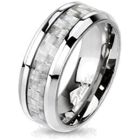 Paula & Fritz® Anillo Titanio Plata Carbon Fiber Inlay disponibles Ring tamaños 47(15)–69(22) R de ti de 4369