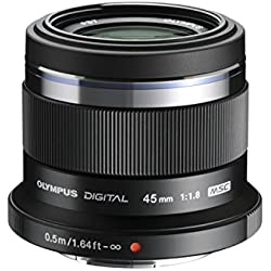 Olympus V311030BE000 M.Zuiko Digital Obiettivo 45mm 1:1.8, Micro Quattro Terzi, per Fotocamere OM-D e PEN, Nero