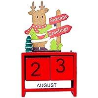 YeahiBaby Kinder Adventskalender Weihnachtskalender Weihnachten Holz Kalender Dauerkalender Tischkalender Weihnachtsdeko (Rot Elch)